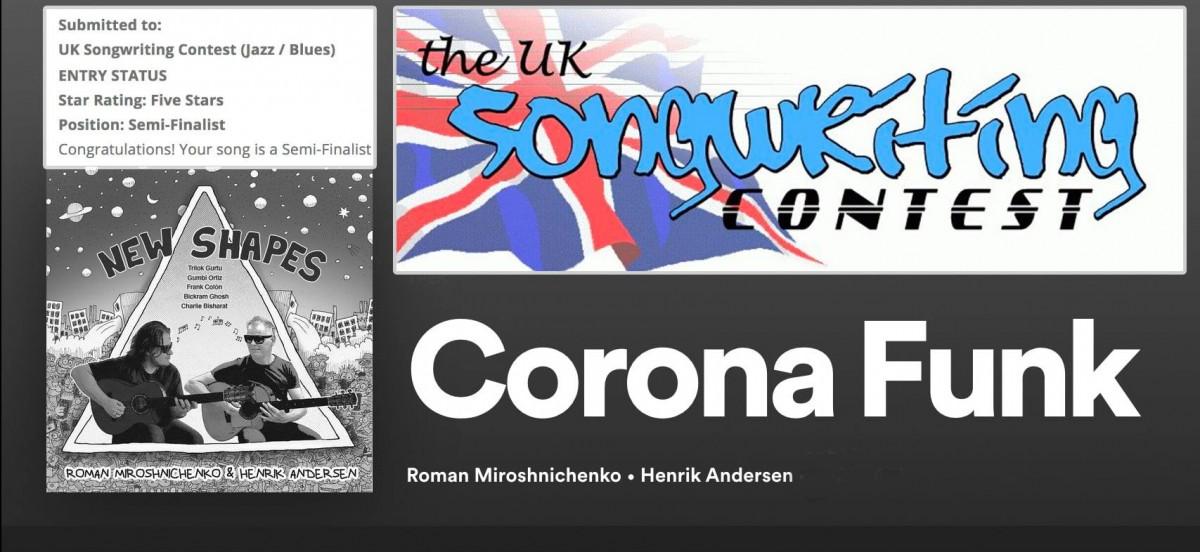 Возможно, это изображение (текст «Submitted to: UK Songwriting Contest (Jazz/ Blues) ENTRY STATUS Star Rating: Five Stars Position: Semi-Finalist Sonewkitimy ONTEST the_Uk Congratulations! Your song sa Semi-Finalist SHAPES ( B e MROSHNICHE NKO Roman RA Miroshnichenko Henrik Andersen Corona Funk»)